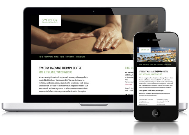 Synergy Massage Therapy Centre website